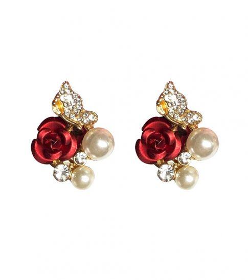 Betsey Johnson Red Roses Pearls Earrings