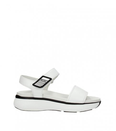 Prada White Velcro Closure Sandals