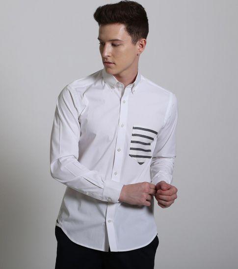 Self Stitch Minimalist Contrasting Stripe Shirt