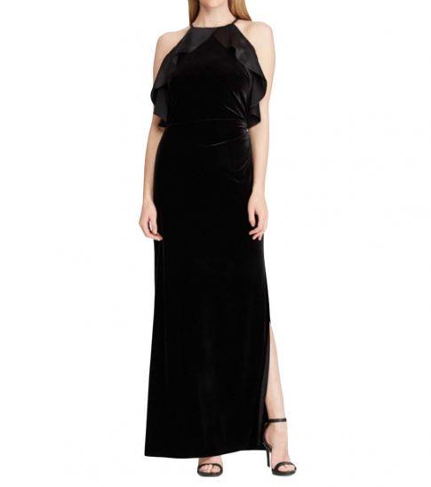 Ralph Lauren Black Ruffled Velvet Gown