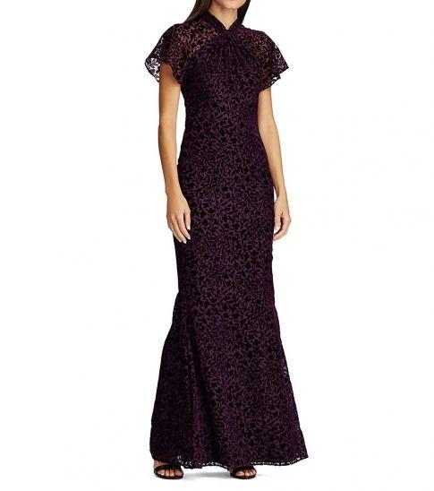 Ralph Lauren Dark Raisin Flocked Velvet Dress
