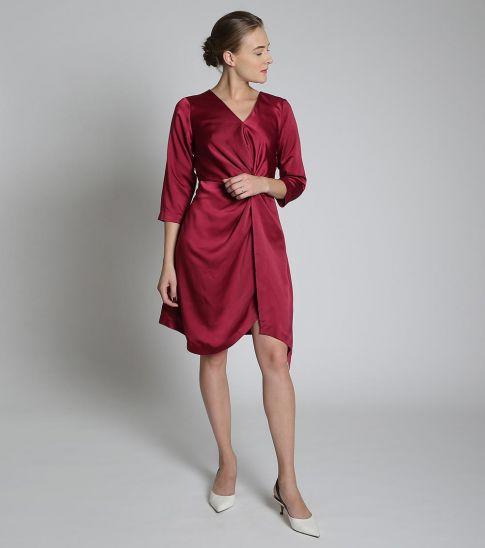 Self Stitch Overlap Twist Dress