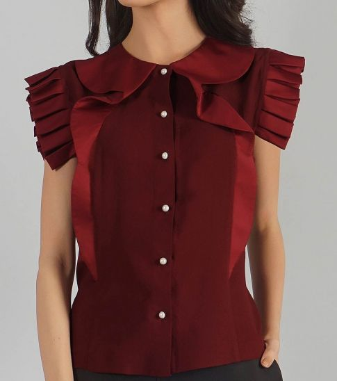 Self Stitch Extended Frill Collar Top
