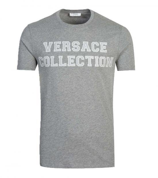 Versace Collection Grey Varsity Logo T-Shirt