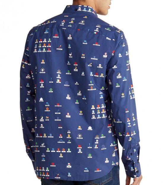 Love Moschino Navy Allover Mini Print Shirt
