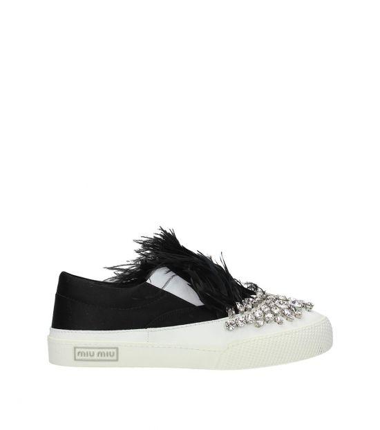 Miu Miu Black White Stones Embellished Sneakers