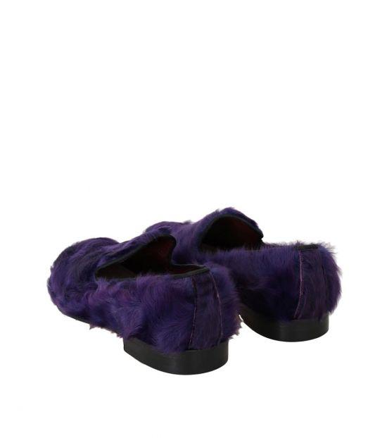 Dolce & Gabbana Purple Fur Loafers
