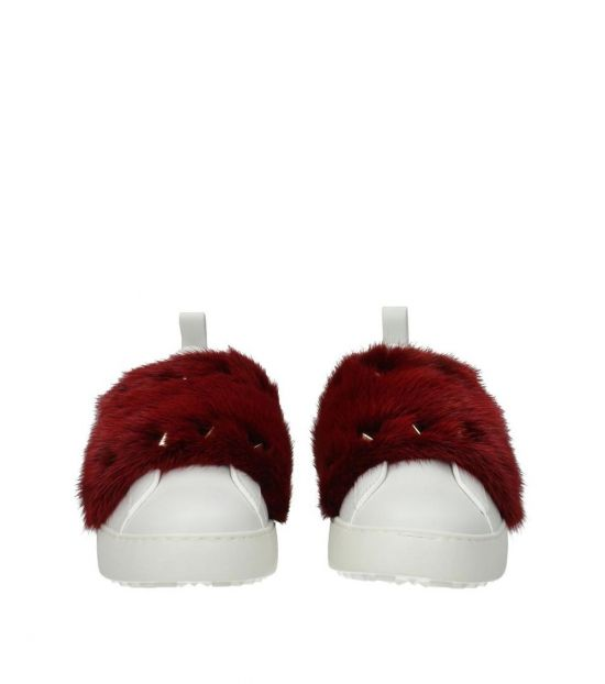 Valentino Garavani White Red Fur Strap Sneakers