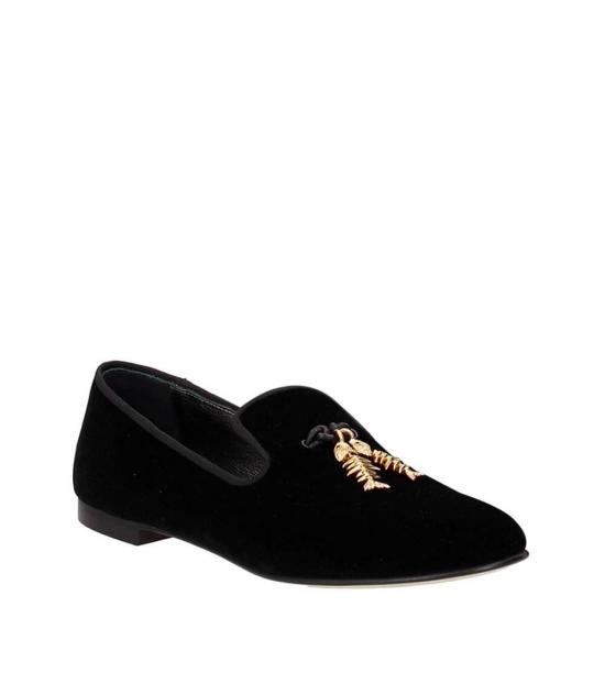 Giuseppe Zanotti Black Gold Suede Loafers
