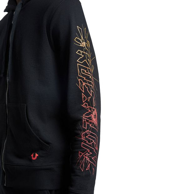 True Religion Black Graphic Zip Hoodie