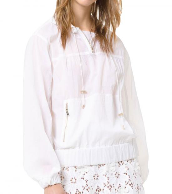 Michael Kors White Paper Nylon Popover Jacket