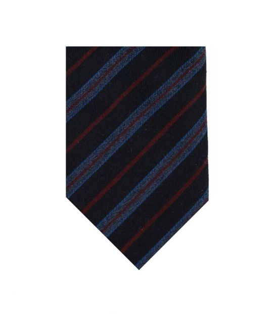 Christian Dior Navy Blue Striped Regimental Skinny Tie