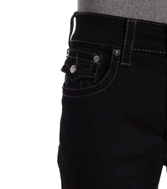 True Religion Black Ricky Flap Straight Big T Jeans