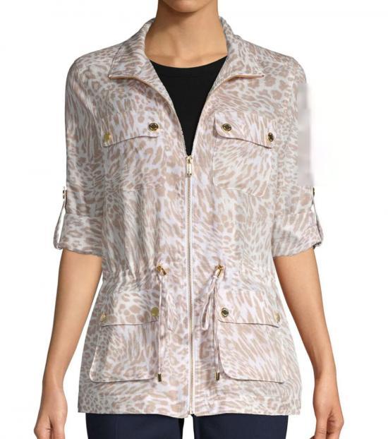 Calvin Klein Natural Animal Print Drawstring Jacket