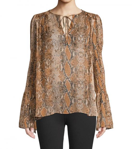 Diane Von Furstenberg Brown Printed Silk Top
