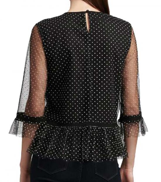 DKNY Black Ruffle Hem Polka Dot Top