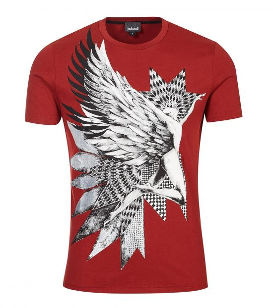 Just Cavalli Red Graphic Print T-Shirt
