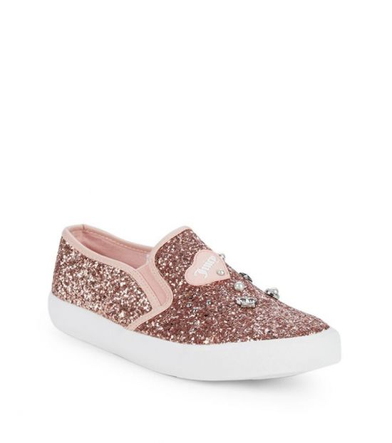 Juicy Couture Rose Gold Embellished Glitter Loafers