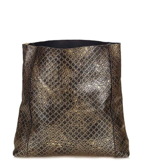Bottega Veneta Black Metallic Medium Messenger Bag
