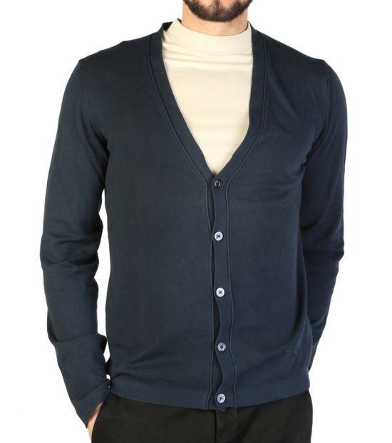 Emporio Armani Dark Blue V-Neck Cardigan