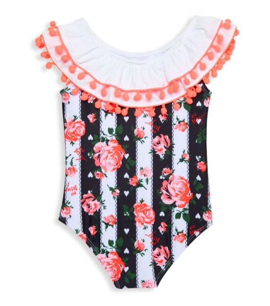 Betsey Johnson Little Girls Black & White Pom-Pom One-Piece Swimsuit