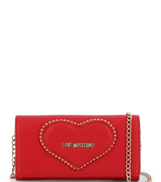 Love Moschino Red Studded Heart Clutch