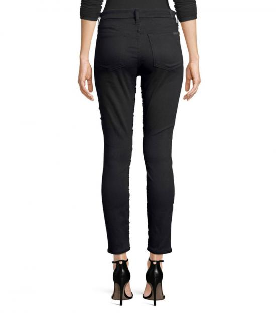 7 For All Mankind Black Floral Skinny Ankle Jeans