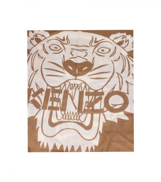 Kenzo Brown Tiger Crest Scarf