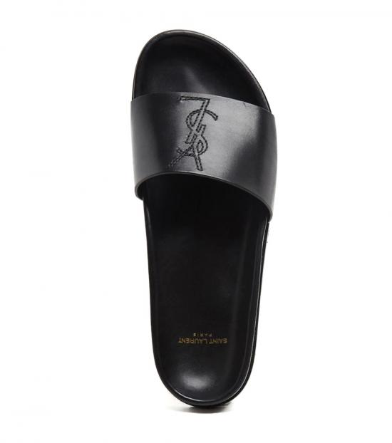 Saint Laurent Black Logo Leather Slides