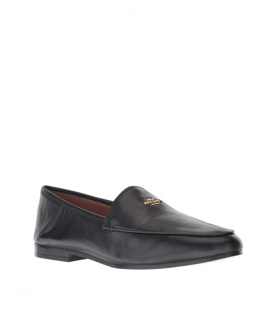 Coach Black Hallie Leather Loafers