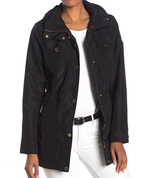 Michael Kors Black Snap Front Anorak Jacket