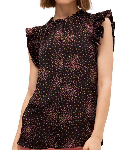 Kate Spade Black Disco Dots Shell Top