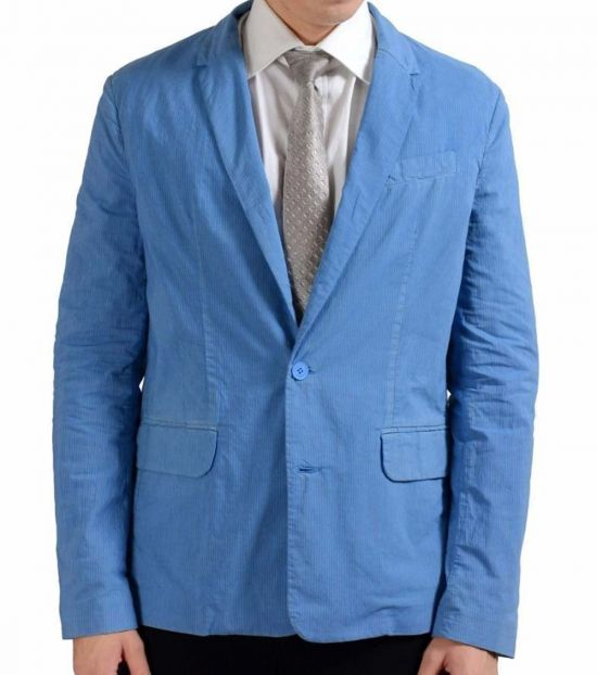 Versace Jeans Blue Striped Two Button Blazer