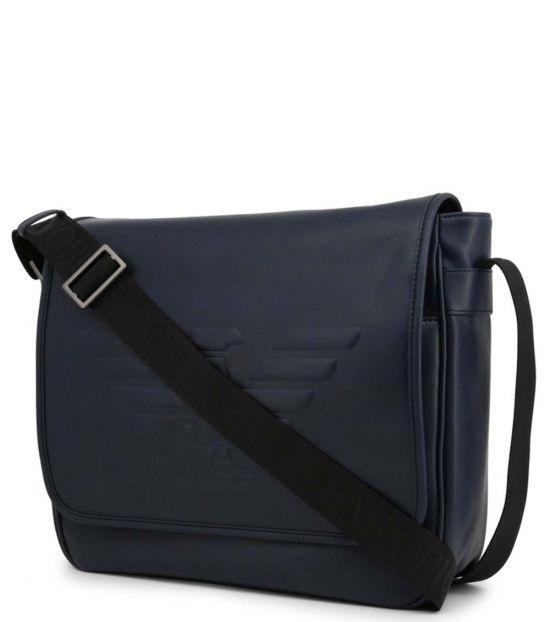 Emporio Armani Blue Logo Large Messenger Bag
