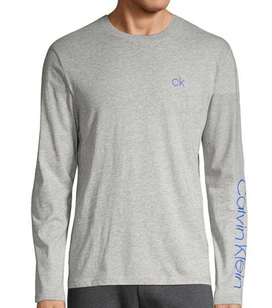 Calvin Klein Light Grey Long-Sleeve Logo Sweatshirt
