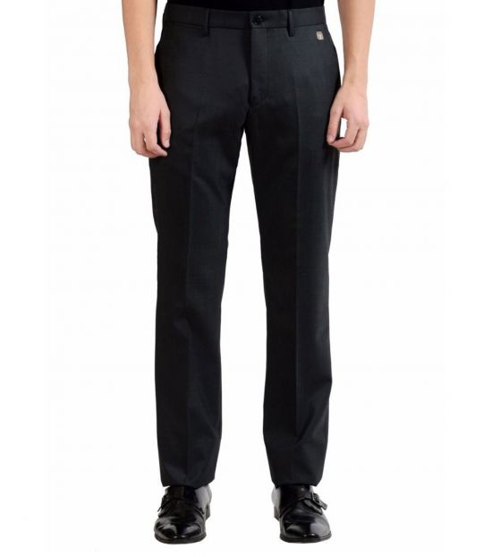 Versace Collection Charcoal Wool Flat Front Pants