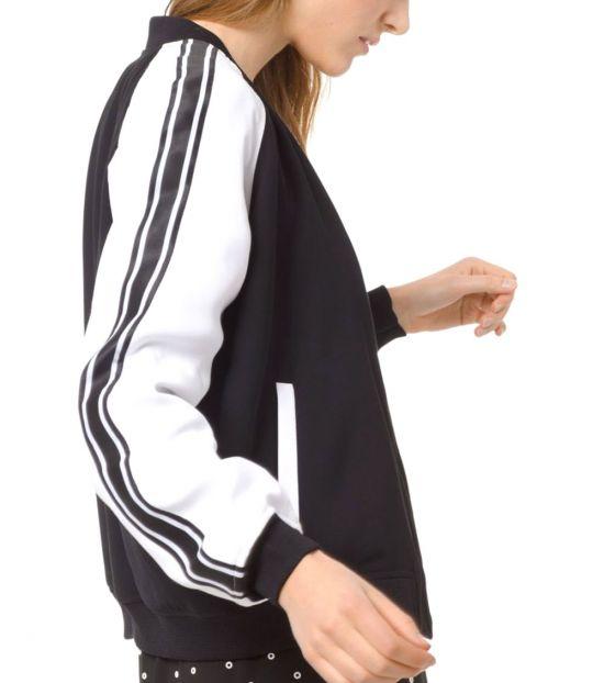 Michael Kors Black White Striped Bomber Jacket