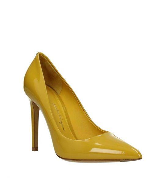 Salvatore Ferragamo Yellow Patent Leather Heels