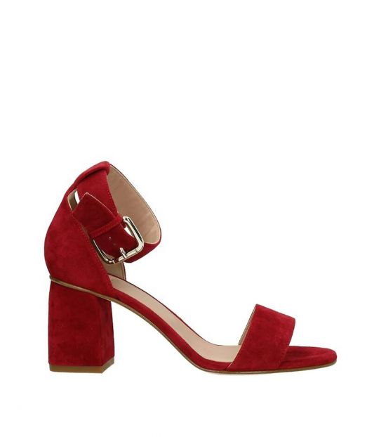 Red Valentino Red Open Toe Suede Heels