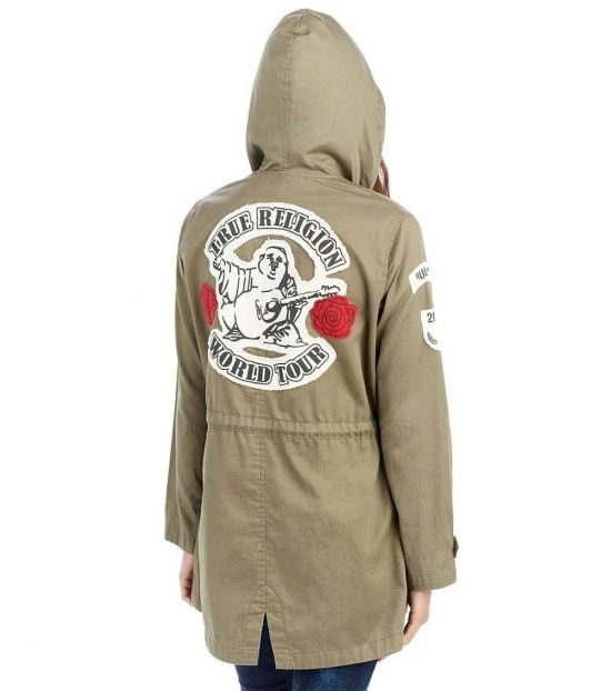 True Religion Military Green Light Parka Jacket