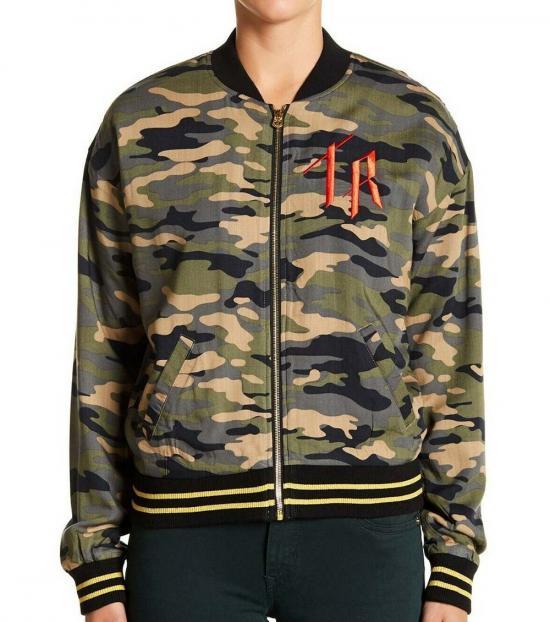 True Religion Multicolor Camo Bomber Jacket