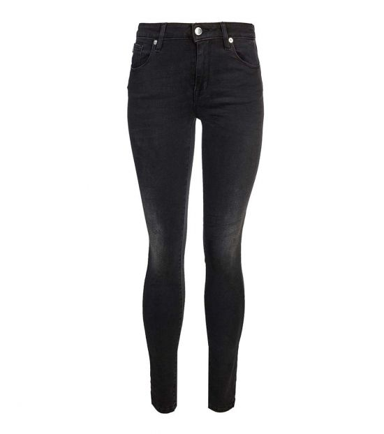 Love Moschino Black Sequins Logo Patch Jeans