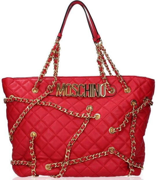 Moschino Red Chain Large Tote