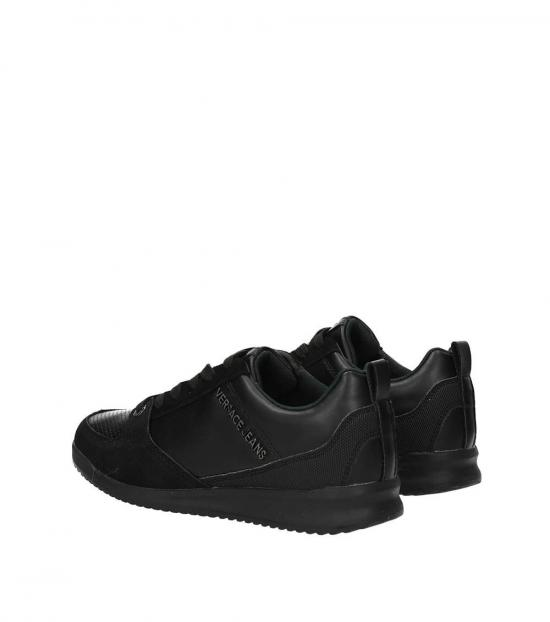 Versace Jeans Black Side Logo Leather Sneakers