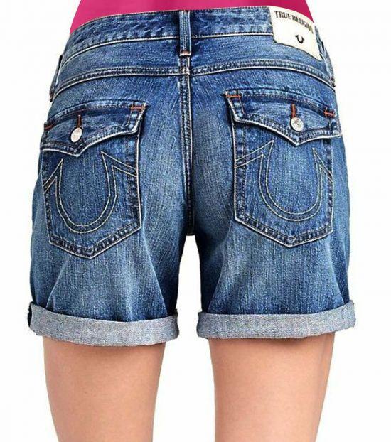 True Religion Denim Blue Low Rise Cut Off Shorts
