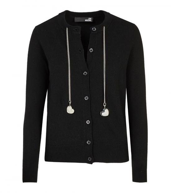 Love Moschino Black Love Chain Logo Cardigan