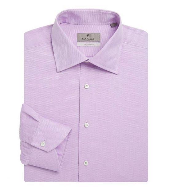 Canali Purple Regular-Fit Mini Dress Shirt