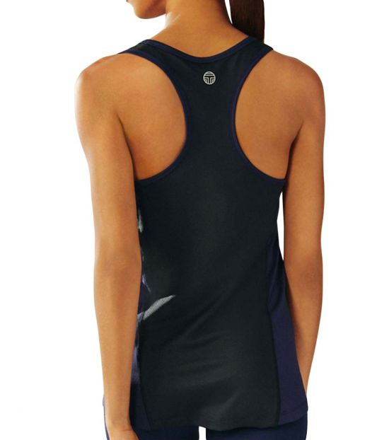 Tory Burch Navy Black Performance Mesh-Back Tank