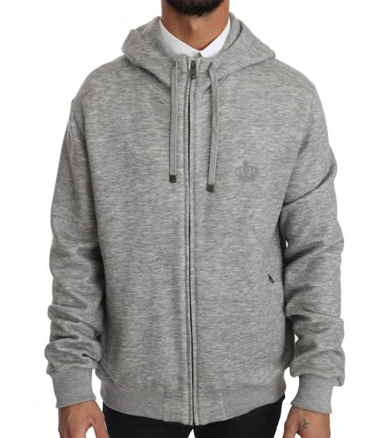 Dolce & Gabbana Grey Crown Logo Hooded Sweatshirt