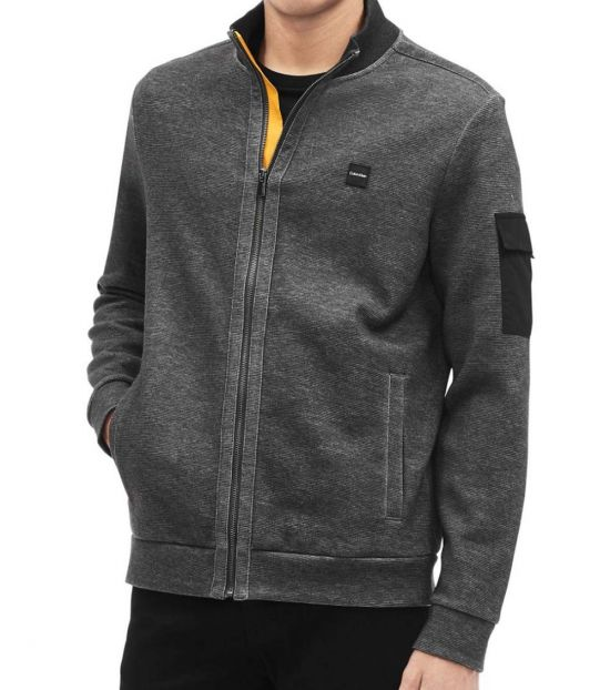 Calvin Klein Gunmetal Textured Long-Sleeve Jacket